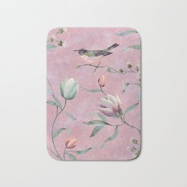 Bird on spring flowers Bath Mat