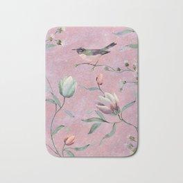 Bird on spring flowers Bath Mat