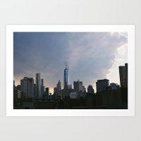 Dark Clouds over lower Manhattan Art Print