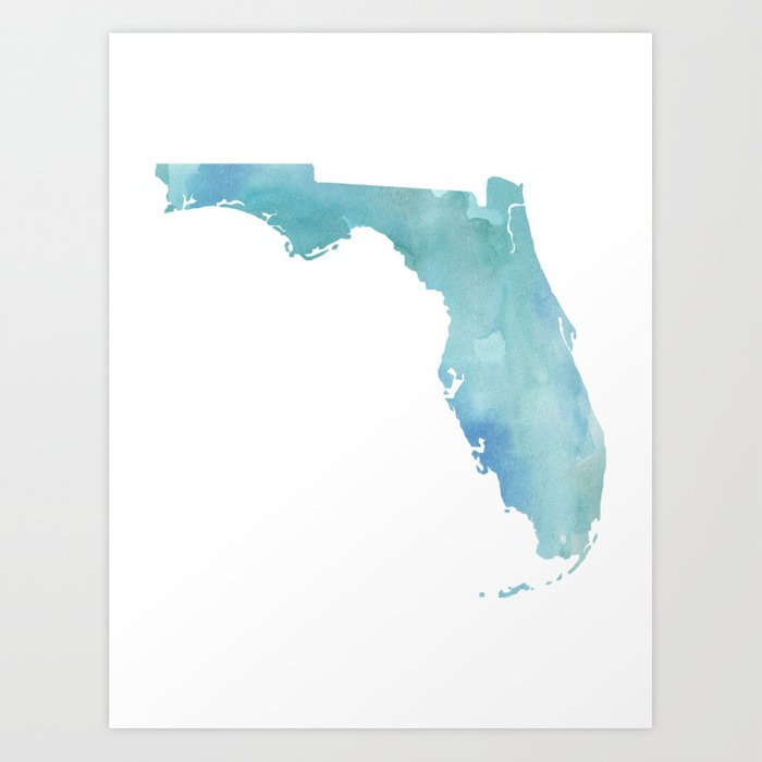 Watercolor State Map Florida Fl Blue Green Art Print By
