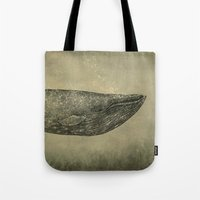 damask Tote Bags featuring Damask Whale  by Terry Fan
