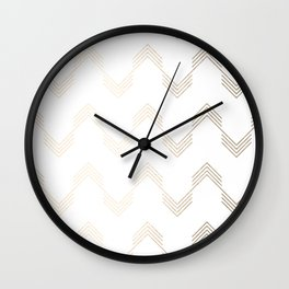 Simply Deconstructed Chevron White Gold Sands on White Wall Clock