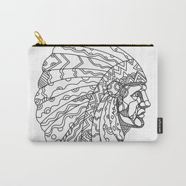 American Plains Indian with War Bonnet Doodle Carry-All Pouch