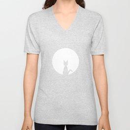 Moon and cat Unisex V-Neck