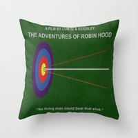 robin hood Throw Pillows featuring Robin Hood Minimal Movie Poster by MX Designs