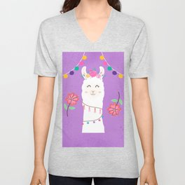Happy Boho Llama with Pompoms in Purple Unisex V-Neck