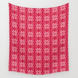 Red and white Christmas pattern. Wall Tapestry