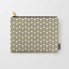 Gold, white and black geometric triangle pattern. Manchester Architecture Collection Carry-All Pouch