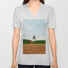 Stanhope PEI Lighthouse and Beach Unisex V-Neck
