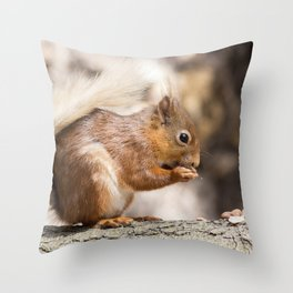 Woodland Forest animals hungry red squirrel Throw Pillow