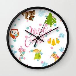 Marry Christmas Pattern Wall Clock