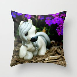 Andalusian Stallion in Meadow Throw Pillow