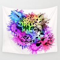 snow leopard Wall Tapestries featuring Bright Colorful Watercolor Snow Leopard by BlackStrawberry
