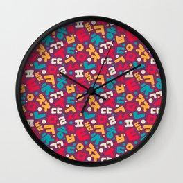 Korean alphabet pattern Wall Clock