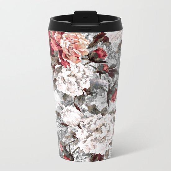Watercolor Roses Metal Travel Mug