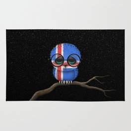 Baby Owl with Glasses and Icelandic Flag Rug