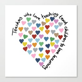 Hearts Heart Teacher Canvas Print