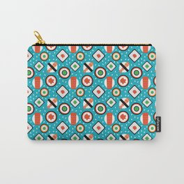 Delicious Pixel Sushi on turquoise background Carry-All Pouch