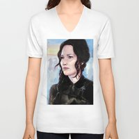 katniss V-neck T-shirts featuring Katniss Everdeen by Alina Rubanenko