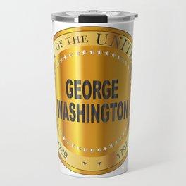 George Washington Gold Metal Stamp Travel Mug