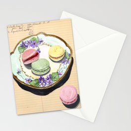 Macarons on an Antique Plate in Gouache Stationery Cards