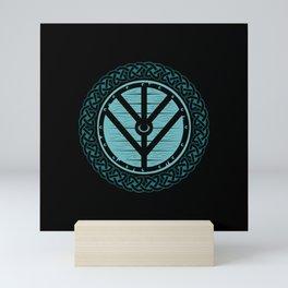 Viking Shield Maiden Norse Knot Work & Teal Shield Mini Art Print