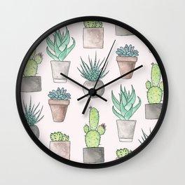 Succulent Watercolor Pattern Wall Clock