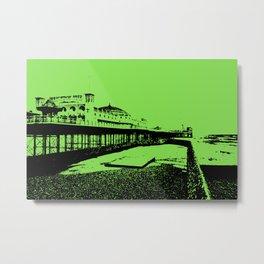 Brighton Pier Mono Green Metal Print