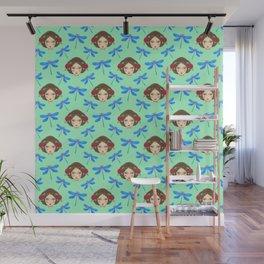 Pretty blue dragonflies, beautiful girl. Feminine folk artistic gorgeous lovely teal green pattern Wall Mural