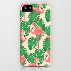 Flamingo in Tropical Forest iPhone SE Slim Case