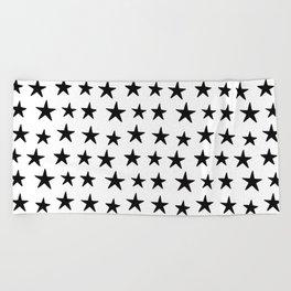 Star Pattern Black On White Beach Towel