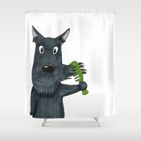 mustache Shower Curtains featuring Mustache by Lisidza's art