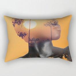 Portrait of Woman with Sunrise Nature Landscape Rectangular Pillow