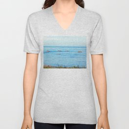 Bird Filled Rocks and a Whale Unisex V-Neck