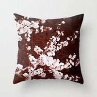 cherry blossoms Throw Pillows featuring Cherry Blossoms by Paula Belle Flores