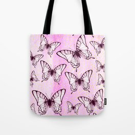 butterfly pattern on pastel pink Tote Bag
