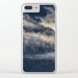 Calming Mountain Fog Scene Clear iPhone Case