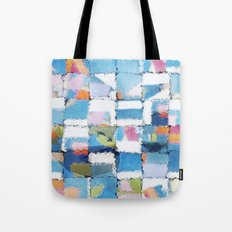 whale in colorful blues Tote Bag