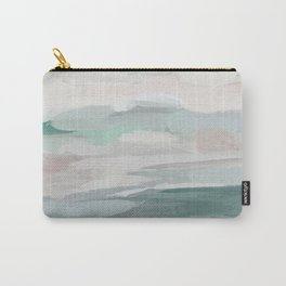 Sage Green Sky Blue Blush Pink Abstract Nature Sky Wall Art, Water Land Painting Print Carry-All Pouch