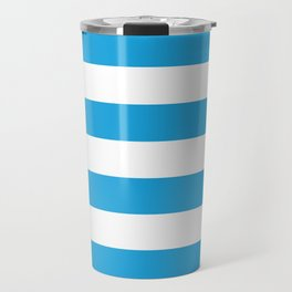 Oktoberfest Bavarian Blue and White Large Cabana Stripes Travel Mug