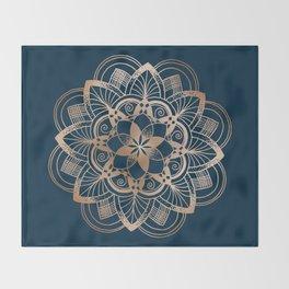 Lotus metal mandala on blue Throw Blanket