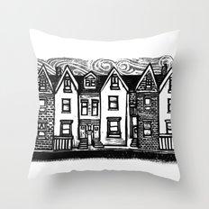 Row Houses - Linocut Throw Pillow