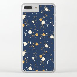 Chic navy blue faux gold glitter party time Clear iPhone Case
