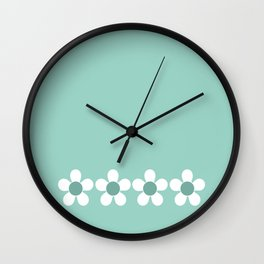 Spring Daisies - Green & White Wall Clock