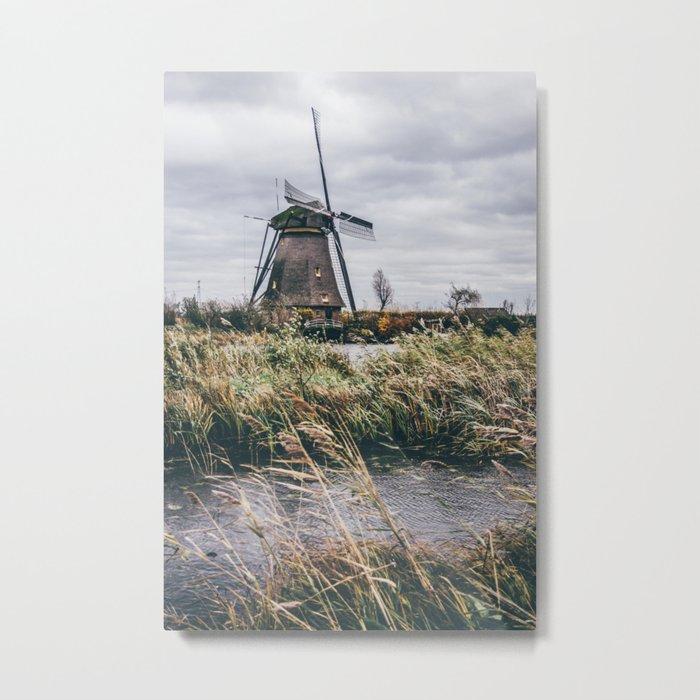 Kinderdijk Windmill Metal Print