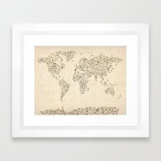 Music Notes Map of the World Framed Art Print