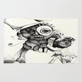 The Mad Hatter B&W Rug