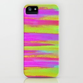 DISCO FEVER - Bright Neon Green Pink Funky Dance 70s Retro Stripes Abstract Watercolor Painting iPhone Case