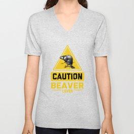 CAUTION Beaver Lover Unisex V-Neck