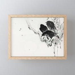 Vintage Japanese Illustration Of 3 Black Crows On Branch Framed Mini Art Print